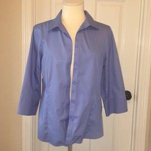 Chico's Sky Blue No Iron Button Down Shirt Sz 2